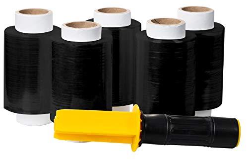 Stretchfolie Set - 5 Mini Rollen Stretch Folie, 10cm, 0,25kg (schwarz) inkl. Stretchfolien Handspender mit Stopfunktion