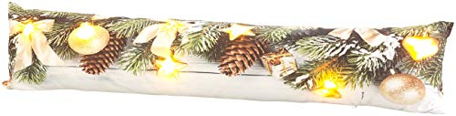 infactory Tür Zugluftstopper: Zugluftstopper-Deko-Kissen mit Weihnachts-Motiv, 7 LEDs, 90 x 20 cm (Zugluftstopper Tür Weihnachten)