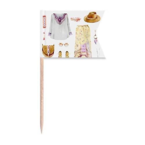 Beauty Gift Bohema mia Wind Fashion Hand bemalt Markierung für die Kennzeichnung von Zahnstocher-Flaggen