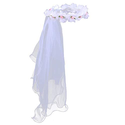Lurrose Diadema con corona de flores blancas para niñas con 2 capas de encaje velos tocado de novia