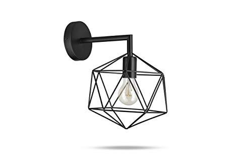 LIFA LIVING Industriële Wandlamp, Zwarte Muurlamp, Metalen Nachtlamp, Moderne Wandlamp voor Woonkamer, Slaapkamer, Kantoor, E27, 22 x 17.5 x 31 cm