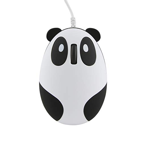 3C Light Cute Panda Shape USB Wired Mouse Novelty Portable Computer Mouse Animal Small Optical Mice Desktop Mouse 1600 DPI 3 Buttons for Women Kids Girls (Wired-White)