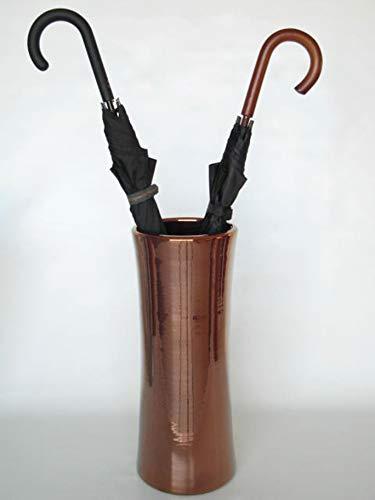 POLONIO - Paraguero de Ceramica Cobre de 50 cm - Bastonero de Ceramica para Entrada y Pasillo - Jarron de Ceramica Grande Color Cobre Brillo.