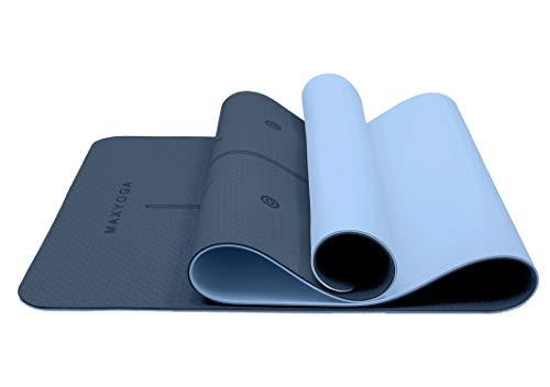 MAXYOGA® Esterilla Yoga de Medida Grande 183cm x 66cm x 6mm y Líneas de Alineación grabadas a Laser Colchoneta Yoga Mat Antideslizante y Ligera de Material Ecológico TPE Azul