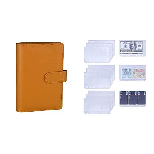 Antner A6 PU Leather Notebook Binder (Dark Yellow) Bundle   12 Pieces (3 Types) A6 6-Holes Binder Pockets