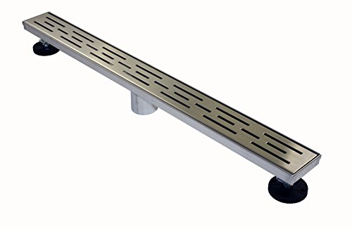 Novalinea ZA Linear Shower Drain (36 Inch BRICK Pattern) Sleek and Modern Brushed Stainless Steel, with Hair Strainer, Leveling Feet and Threaded Adapter