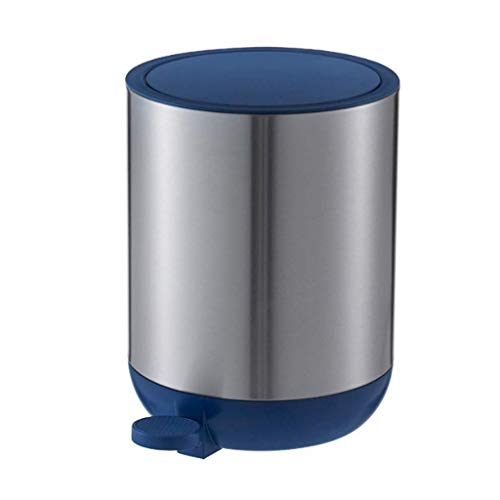1yess Mülleimer Mülleimer, 5L Mülleimer, Stahlpedalbehälter, mit innerem Eimer und Deckel, Abfallkanal für Badezimmer, WC-Mülleimer Abfallbehälter (Farbe: blau) (Color : Blue)
