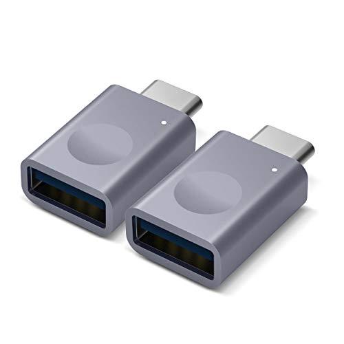 elago Mini Adaptateur USB-C vers USB 3.0 en Aluminium [Témoin LED] Mini Adapter Femelle pour MacBook Air MacBook Pro iPad et d'autres appareils avec Type-C USB [Lot de 2] - Gris Sidéral