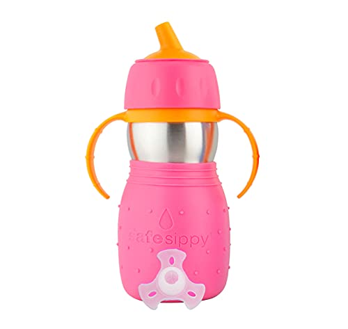 Kid Basix Safe Sippy, Stainless Steel Cup for Babies/Toddlers, Round Spout, Dishwasher Safe, BPA Free, 11 OZ. Travel/School/Play Pink