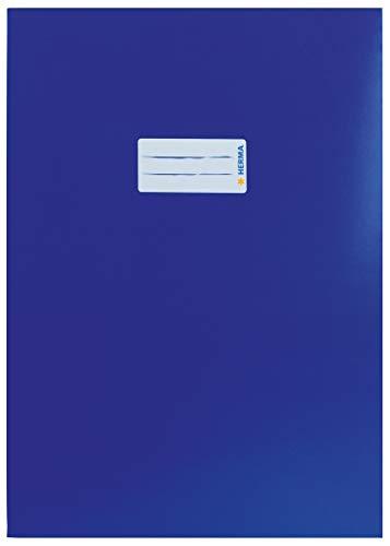 HERMA 19751 Karton Heftumschlag DIN A4 mit Beschriftungsetikett, aus stabilem und extra starkem Papier, Heftschoner für Schulhefte, dunkelblau