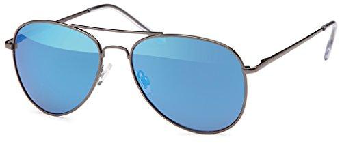 Balinco Balinco Pilotenbrille Sonnenbrille 70er Jahre Herren & Damen Sunglasses Fliegerbrille verspiegelt (Black/Blue)