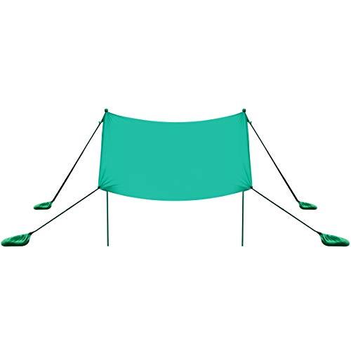 COSTWAY Sonnensegel Sonnenschutz mit 4 Sandsäcken und 2 Alustangen Lycra Sonnendach Strandmuschel für Strand, Camping (Türkis, 210x210cm)