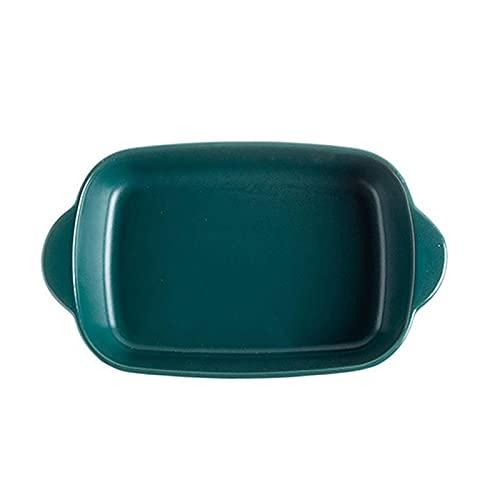 1 Piece Nordic Bakeware Binaural Baked Rice Bowl Baking Sheets Nonstick Oven Nonstick 9.5 Inches Dark Green