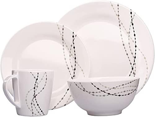 Line Crème/gris ronde 24pièces pour 6personnes en mélamine Set Vaisselle Camping Outdoor Jardin Harnais Tableau Service de table pique-nique