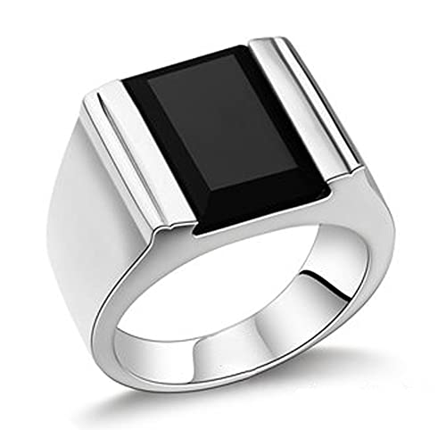 RXSHOUSH Anillos para hombres 925 plata negro ágata anillo joyería Ins novio hijo Lucky Anillos, 23#