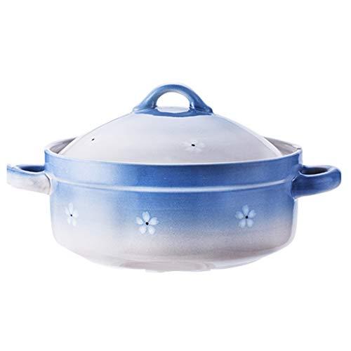 Küche Topf Haushalts Casserole Irdenen Topf Cooker Suppe Hochtemperatur Offene Flamme Gas Keramiktopf Hause Schwangere Frauen Spezielle Porridge (Color : Blue, Size : 27 * 34 * 18cm)