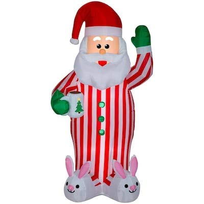 Gemmy 7FT Inflatable Christmas Santa Claus with Bunny Slippers Indoor/Outdoor Holiday Decoration