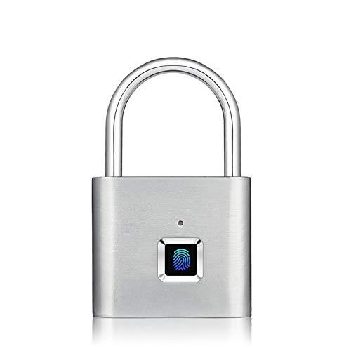 Cerradura de huella digital, huella digital inteligente de desbloqueo del candado, USB recargable, sin llave cerradura de puerta principal, Chip Flash Desarrollo de desbloqueo (Color : Silver)