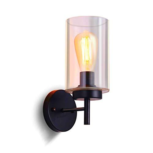 SISVIV Apliques de Pared Vintage Industrial Lámpara de Pared Vidrio Retro a Velas para Cocina Corredor Restaurante Café E27 Negro
