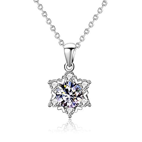 NC Collar con colgante de copo de nieve de diamantes Moissan de plata de ley 925, collar de clavícula para mujer