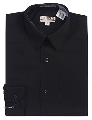 Gioberti Big Boys' Long Sleeve Dress Shirt, Black, 14