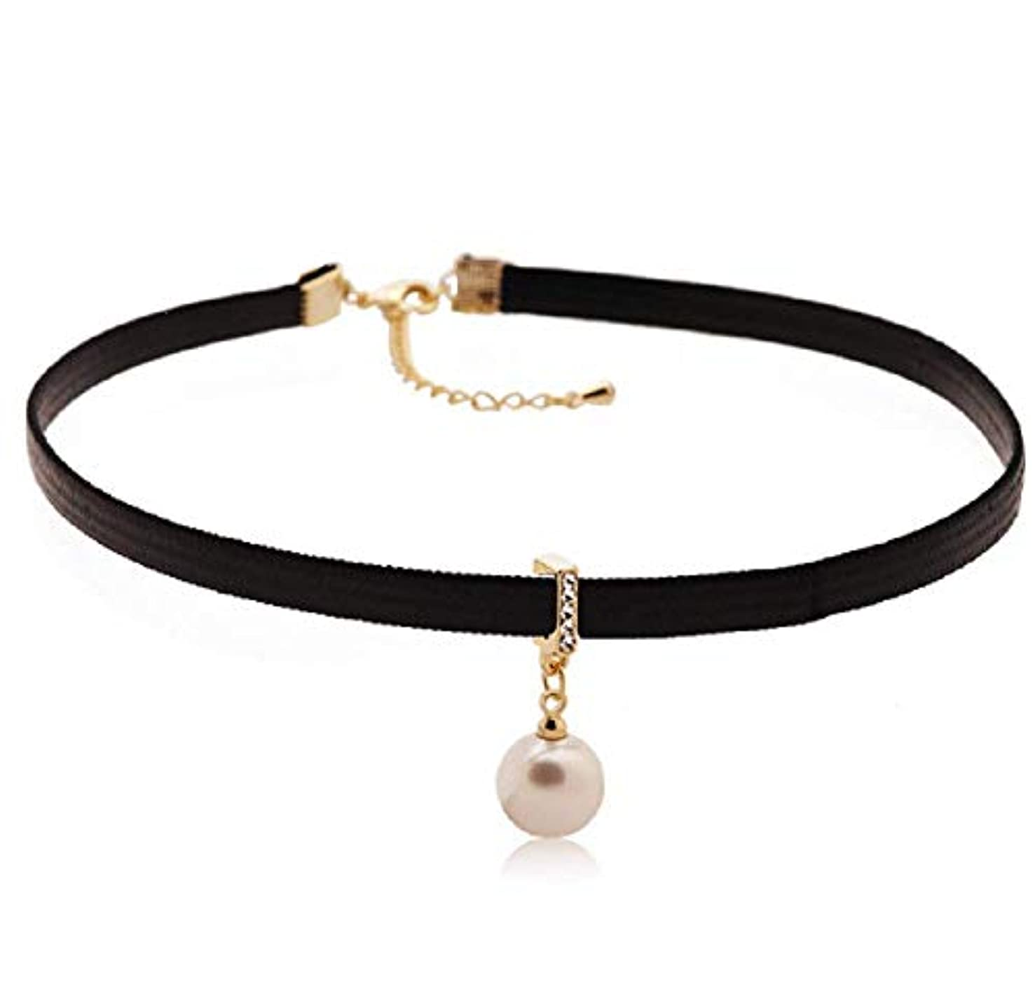 Weishu Fashion Artificial Pearl Ladies Girls Korean Clavicle Personality Black Sexy Short Necklace can be debugged