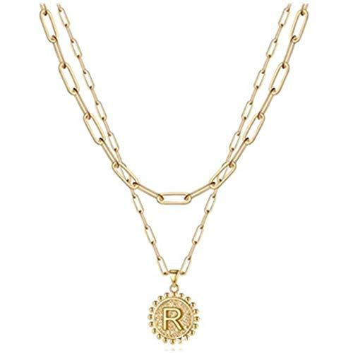 Fnho Crystal Rhinestone Saturn,Pearl Necklaces White Planet Crystal,Collar Simple de Letras, Cadena de clavícula con Clip de Papel-R