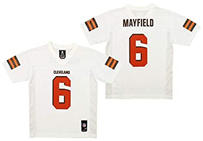 OuterStuff Youth NFL Mid-Tier Player Jersey, Cleveland Browns Baker Mayfield-White X-Large (18)
