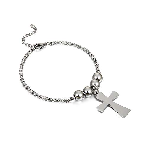 LUSSO Stainless Steel Religious Bracelet Christian Believe Faith Cross Bracelets Adjustable Link Chain Gifts Jewelry for Women Girls adjustable silver