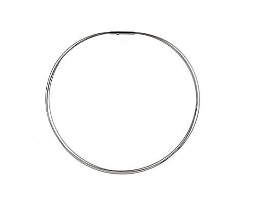 AQT Damen Halsreif - K 19-20, Stahlreif, 4-reihig, 4 x 0.5 mm Doppelclipverschluss aus Edelstahl, Länge wählbar (38-45 cm) (38)