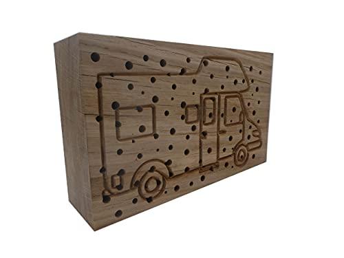 Die Gartenbeet-Kiste Insektenhotel Wildbienen Camper Nisthilfe Bienen Eiche Massivholz