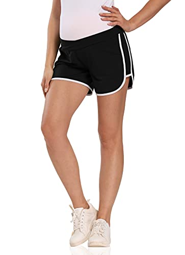 Kegiani Pantalones cortos de maternidad para mujer, cómodos, cortos, suaves, transpirables, para embarazadas, deportes, yoga, para verano Negro S
