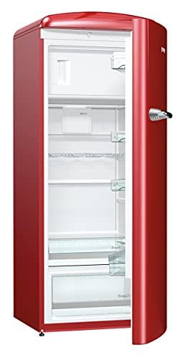 Gorenje ORB 153 R Kühlschrank mit Gefrierfach / A+++ / Höhe 154 cm / Kühlen: 229 L / Gefrieren: 25 L / Burgundy / DynamicCooling-System / LED Beleuchtung / Oldtimer / Retro Collection