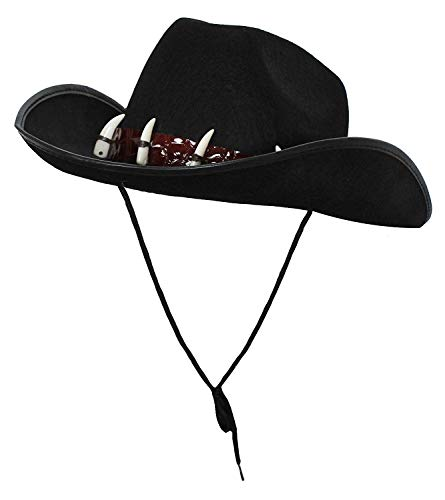 Australischer Hut, Outback-Kostüm, Zubehör für Krokodiljägerkostüm, schwarz mit falschen Zähnen (schwarz)–in Mehrfachpackungen erhältlich