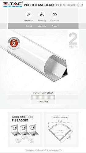 V-TAC Profilo in Alluminio Angolare per Strip LED, Bianco