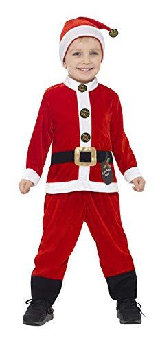 Smiffys-21488S Disfraz de Papá Noel para niño pequeño, con Mono y Gorro, Color Rojo y Blanco, S-Edad 4-6 años (Smiffy