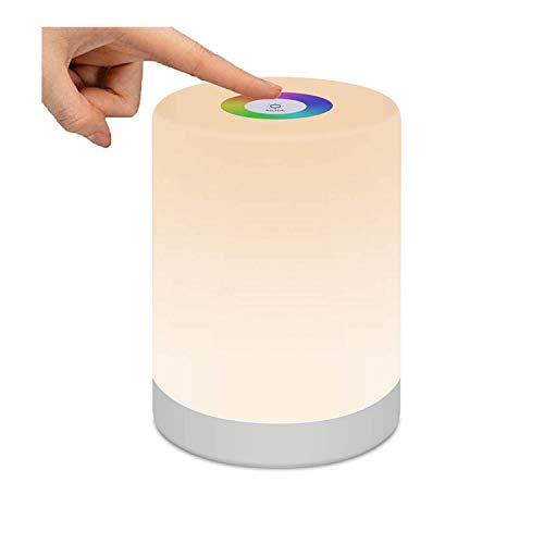 Lámpara de cama, luz nocturna LED, luz de ratón regulable al tacto, recargable, portátil, modos de cambio de color RGB y 3 niveles de brillo para niños, dormitorios, acampadas