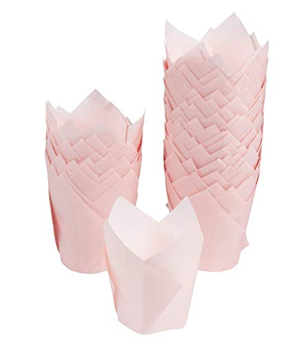 Tulip Cupcake Liners - 100-Pack Medium Baking Cups, Muffin Wrappers, Perfect for Birthday Parties, Weddings, Baby Showers, Bakeries, Catering, Restaurants, Baby Pink