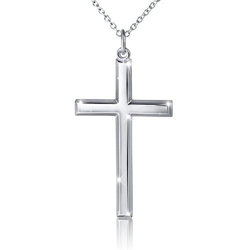 DAOCHONG S925 Sterling Silber Herren Kreuz Anhänger Halskette Herren Kette Kreuz Halskette Religiöse Kette Männer Baseball Kreuz Halskette 24 Zoll,Classic Cross
