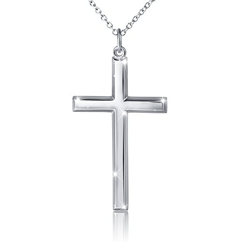 DAOCHONG Men's 925 Sterling Silver Classic Cross Pendant Necklace, Classic Cross 24' Chain