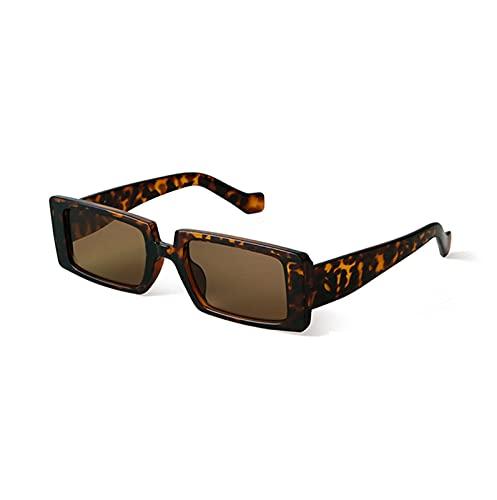 BAYSU Gafas de Sol Vintage rectángulo Verde Gafas de Sol Mujeres Hombres Moda Leopardo Cuadrado Pantallas de Sol Gafas de Sol (Frame Color, Lenses Color : C3)