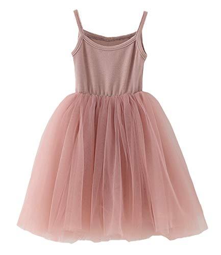 GSVIBK Baby Girls Tutu Dress Toddler Sleeveless Sunderss Straps Tulle Dress Holiday Tutu Dresses for Girl 580 Pink 3Y