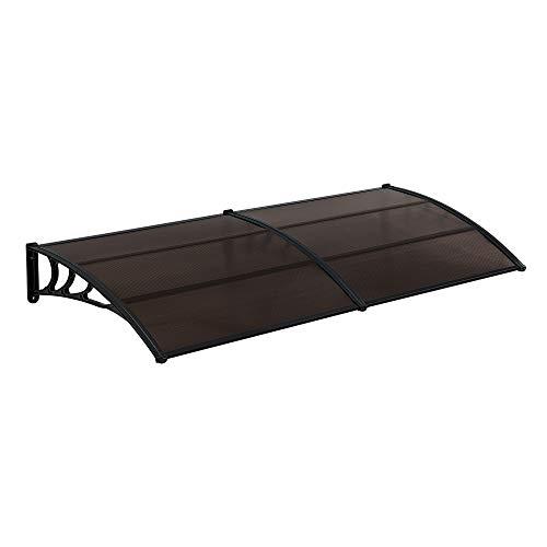 [en.casa] Marquesina para Puertas 300 x 100 cm Tejadillo de Protección de ABS Techo para Jardín Terraza Patio Balcón Parasoles Sombrilla Exterior Negro y Marrón