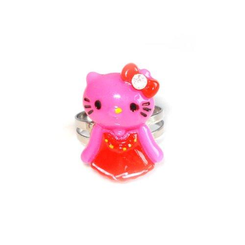 Idin Verstellbarer Ring - Rosa Kitty in rotem Nachthemd