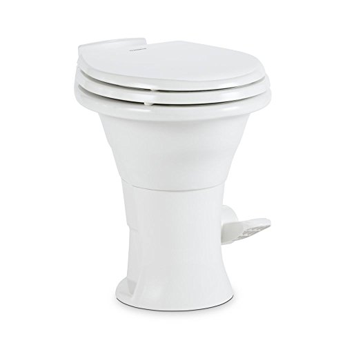 "Dometic White 310 Series Standard Toilet 302310031, 19.75"" Height, Slow Close Wood Seat"