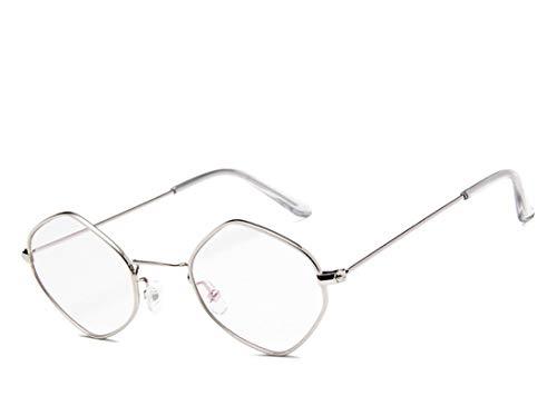 NJJX Gafas De Sol De Moda Para Mujer, Hombre, Montura Pequeña, Rombo, Gafas De Sol De Metal, Lentes Transparentes Coloridos, Gafas Femeninas, Vintage, Plateado, Blanco