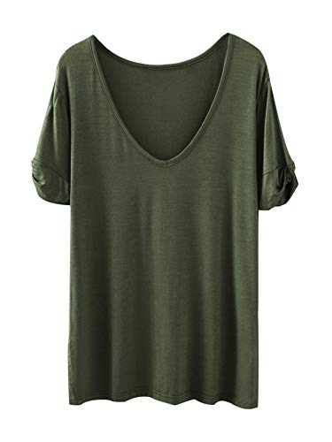 SheIn Women's Summer Short Sleeve Loose Casual Tee T-Shirt ArmyGreen X-Small