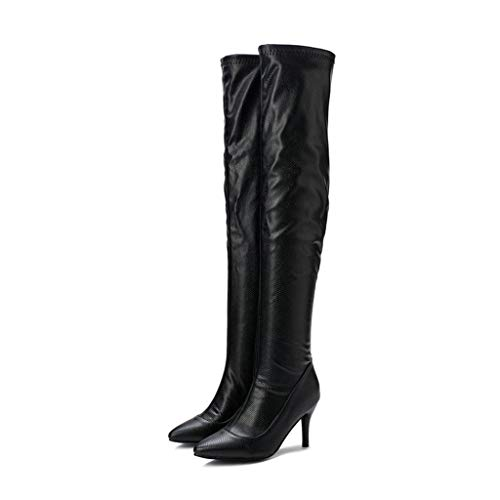 AIFCX Frauen PU-Leder über das Knie-Stiefel Spitz Feine Heel-hohe Stiefel Arbeiten Prom Sexy Comfort wasserdichte Schuhe,Black-47