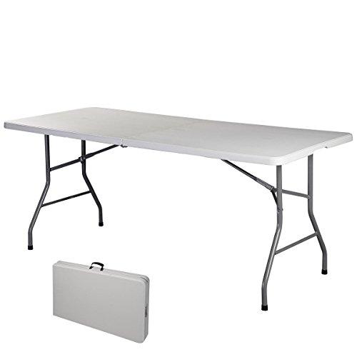 COSTWAY Campingtisch Klapptisch Falttisch Gartentisch Koffertisch Biertisch, Balkontisch mit Tragegriff, Flohmarkttisch belastbar bis 150kg, Esstisch Weiß (L)