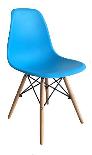 ST004 azul Silla patas madera y asiento PP azul estilo nórdico para comedor, cocina , balcón , terraza interior,habitación juvenil, dormitorio, hostelería. 1 unidad
